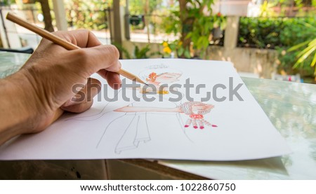 Human Hand drawing Thai art picture,Thai style , caricature of man,Female character(s) in literature.  by pencil.