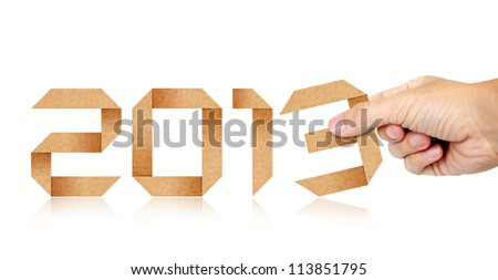 Human Hand Fill Year 2013 Origami Paper isolated