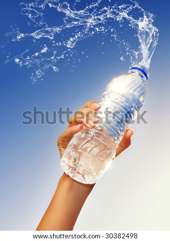Human hand holding a bottle of water