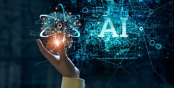 Human hand holding a neural network brain of AI on learning analysis information and processing big data on circuit board background, Innovation, Futuristic concept for artificial intelligence.