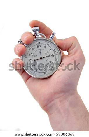 human hand holding a silver stop-watch, isolated on white background, vertical photo