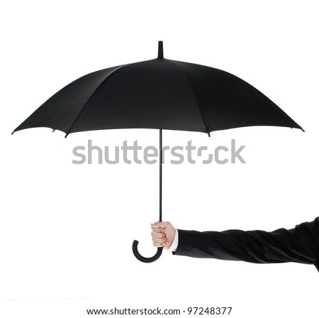 Human hand holding an umbrella isolated on white background