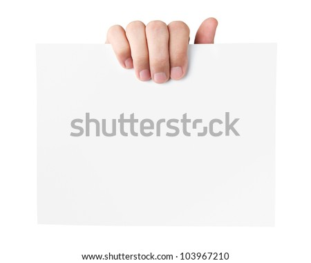 Human hand holding blank advertising card isolated on white back