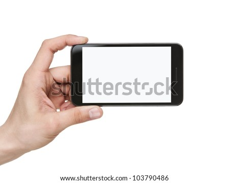 Human hand holding blank mobile smart phone isolated on white background with clipping path for the screen #103790486