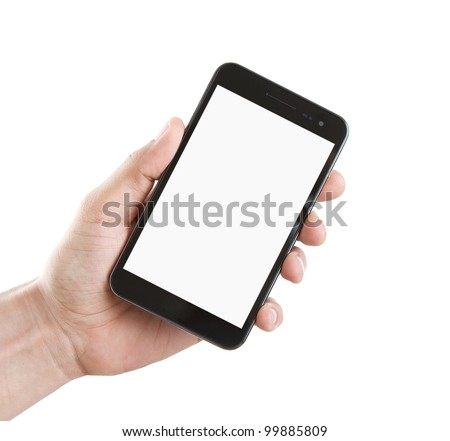 Human hand holding blank mobile smart phone with clipping path for the screen