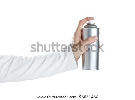 Human hand holding blank spray paint can isolated on white