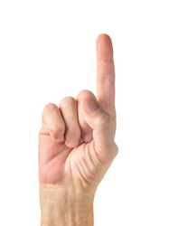 Human Hand holding index finger up over white background