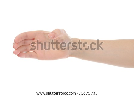 Human hand holding invisible bottle. Isolated on white background