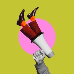 Human hand holding megaphone with legs. Contemporary art collage, modern artwork. Concept of idea, inspiration, creativity and beauty. Bright green, pink colors. Copyspace for your ad or text. Surreal