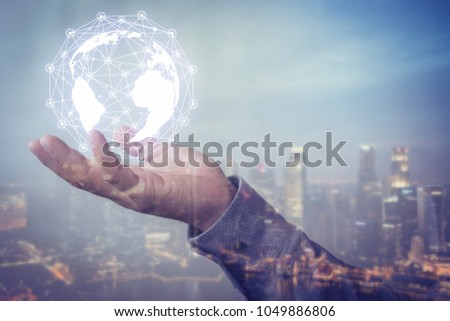 Human hand holding our planet earth glowing connection concept. #1049886806