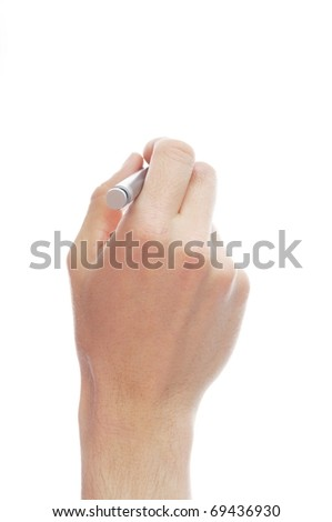 human hand holding pen isolated on white background