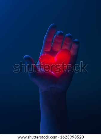Human Hand Holding Red Luminous Heart. Proposal. Surprise. Giving Love And Affection To Beloved. 3d rendering.