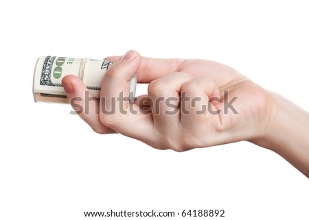 Human hand holding rolled up paper dollar currency