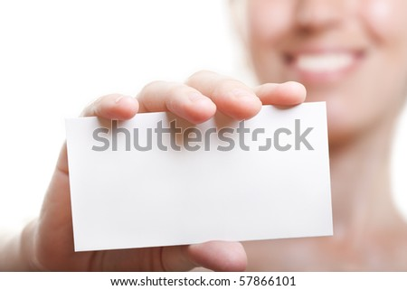 Human hand holding white empty blank business card
