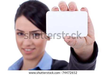 Human hand holding white empty blank business card - stock photo