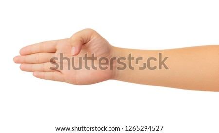 Human hand in reach out one's hand and counting number four fingers gesture isolate on white background with clipping path, High resolution and low contrast for retouch or graphic design #1265294527