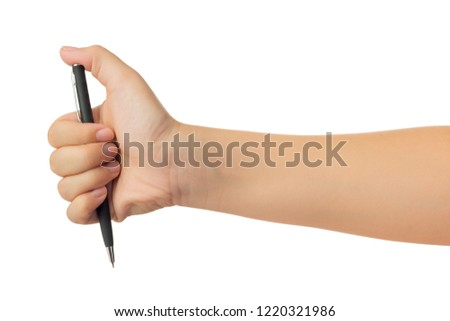 Human hand in reach out one's hand and holding black ballpoint pen gesture isolate on white background with clipping path, High resolution and low contrast for retouch or graphic design