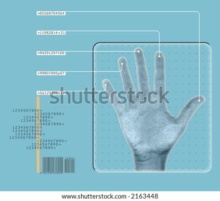 human hand interfacing with digital technology/having biometric scan
