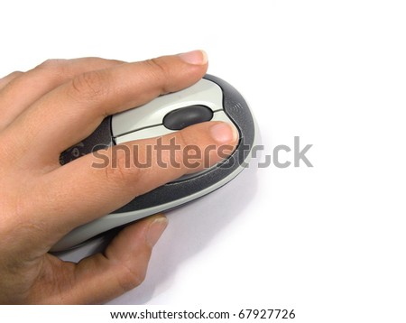 Human hand making a mouse click, isolated in white