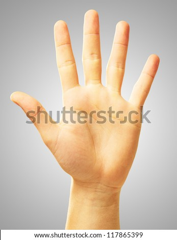 Human Hand On Gray Background