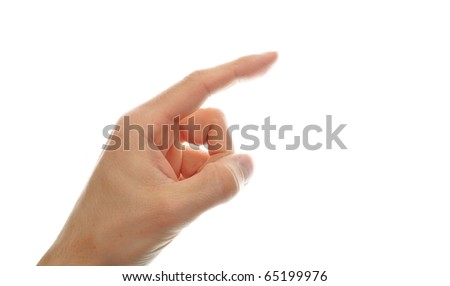 human hand point with finger isolated on white background