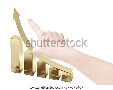 human hand pointing to an upward trend, isolated on white background. #577095409