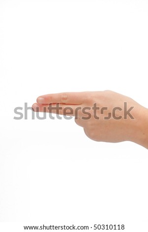 Human hand pointing with two fingers on white background
