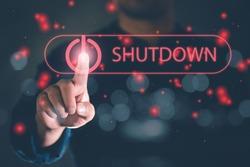 human hand press shutdown button on virtual screen. Shut down concept, Free space for text or design.