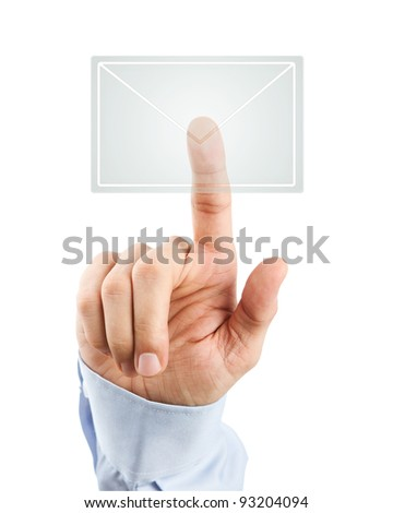 Human hand pressing transparent mail icon