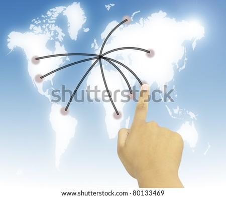 Human Hand pressing world wide communication