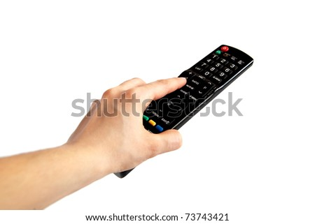 human hand pushing button on tv remote control, isolated on white background