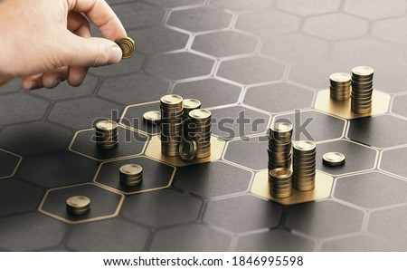 Human hand stacking coins over a black background with hexagonal golden shapes. Concept of investment management and portfolio diversification. Composite image between a hand photography and a 3D back Stockfoto ©