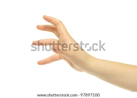 human hand take over on white white background