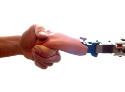 human hand touches a prosthetic hand, human encounters a machine