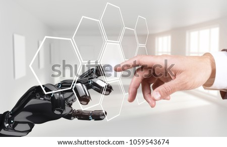 Human hand touching an android hand in virtual reality.