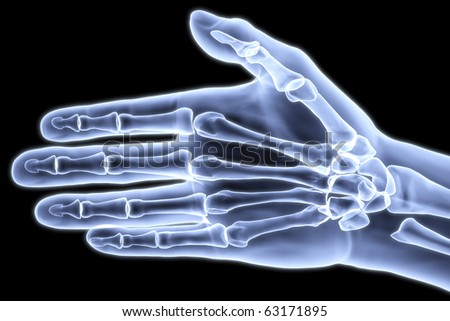 human hand under X-rays. 3d image.