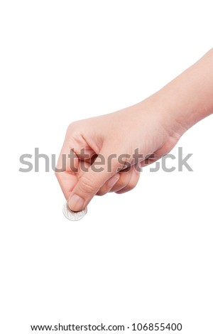 human hand with coin - stock photo