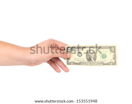 Human hand with money.
