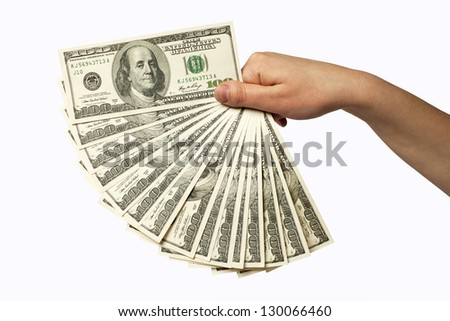 human hand with money isolate on white
