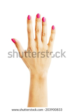 Human hand with pink nails. Isolated on white background