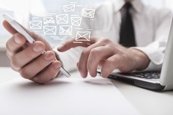 Human hand working on smartphone with mail symbol illustration