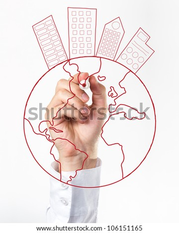 Human Hand Writing World Concept