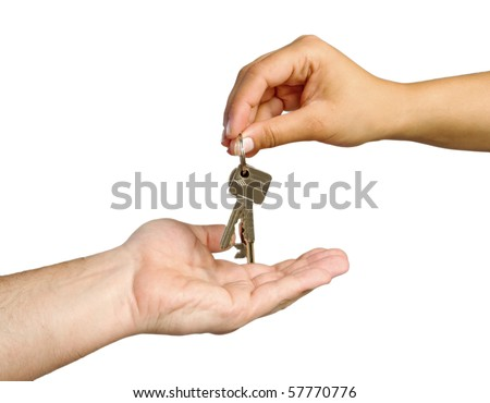 Human hands and key isolated on white background