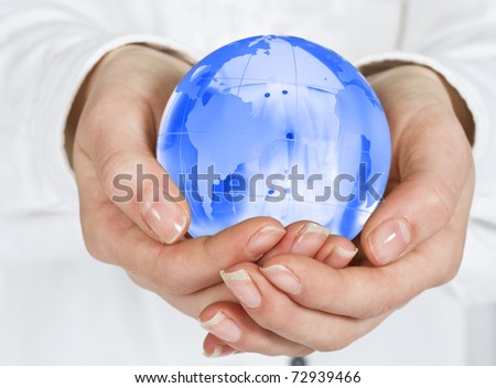 Human hands care about planet.