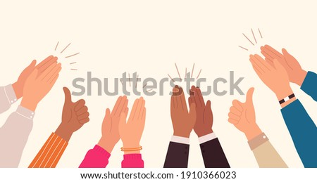 Human hands clapping. People crowd applaud to congratulate success job. Hand thumbs up. Business team cheering and ovation  concept. Illustration support celebration, appreciation friendship