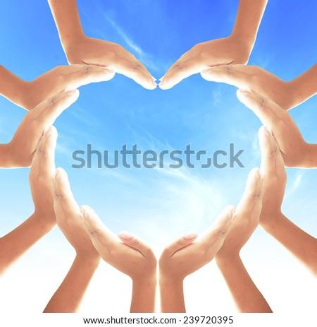 Human hands for heart shape.