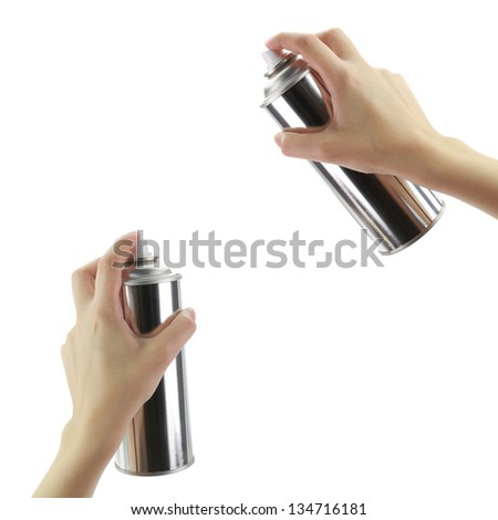 Human hands holding a graffiti Spray can