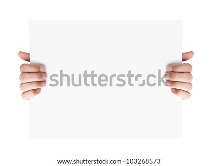 Human hands holding blank advertising card isolated on white background