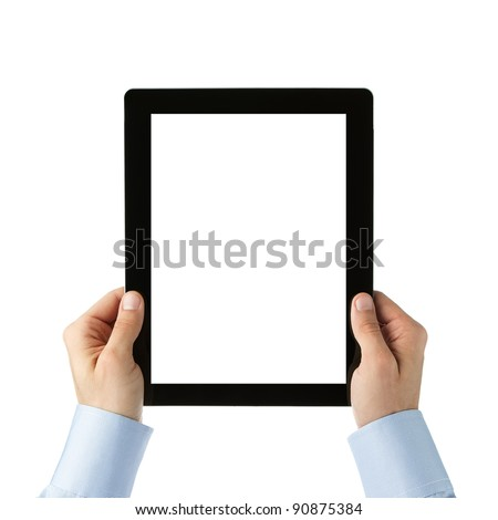 Human hands holding digital tablet with clipping path for the screen
