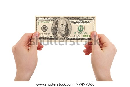 human hands  holding money dollars, 100 US dollar banknote isolated on white background